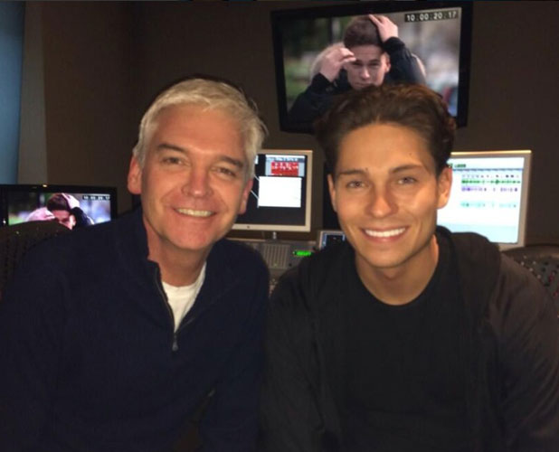 Joey Essex and Phillip Schofield in a recording booth after announcing Phillip will voice Joey's new ITV2 show Educating Joey Essex, 25 February 2014