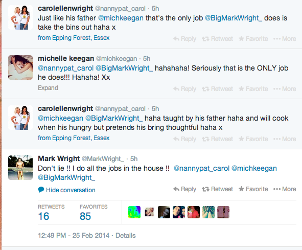 Twitter conversation about house work