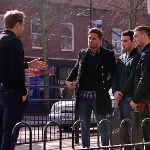 TOWIE: James Lock bumps into Mario Falcone, Ricky Rayment and Charlie Sims. Episode aired: (5 March 2014).