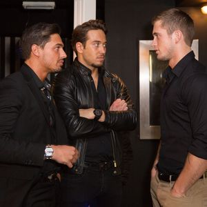 Mario Falcone, James Lock and Dan Osborne film scenes for The Only Way Is Essex. (2 March 2014)