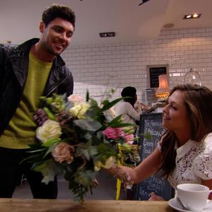 TOWIE: Tom Pearce presents Fran Newman with flowers. Episode aired: (5 March 2014).