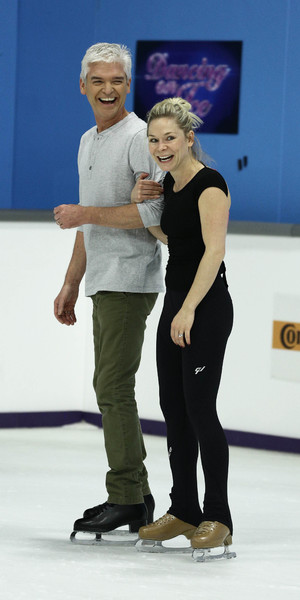 Phillip Schofield and Alexandra Schauman practice for the Dancing On Ice final and last ever episode on 9 March 2014