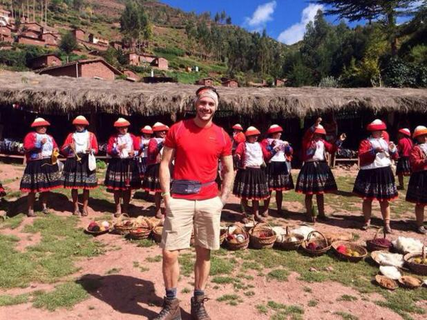 Former TOWIE star Kirk Norcross continues on his charity trek in Macchu Picchu in Peru (6 March 2014).