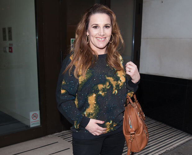 Sam Bailey leaves an office building in London after announcing her pregnancy, 6 March 2014