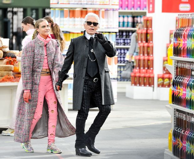 Cara Delevingne and Karl Lagerfeld at the Chanel Show, Autumn Winter 2014, Paris Fashion Week, France - 04 Mar 2014
