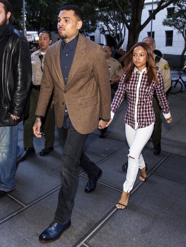 Chris Brown at a Los Angeles Superior Court, America - 03 Feb 2014 Chris Brown and Karrueche Tran