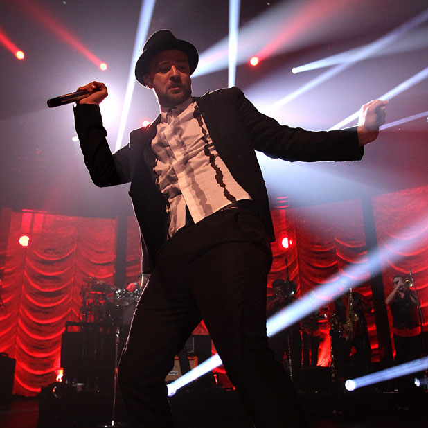 Justin Timberlake performing on stage during the iTunes Festival held at the Roundhouse in Camden, 29 September 2013