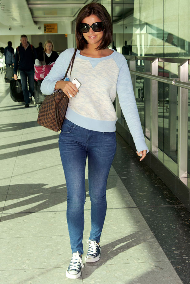 Lucy Mecklenburgh arriving from Miami at Heathrow Airport, London, Britain - 05 Mar 2014