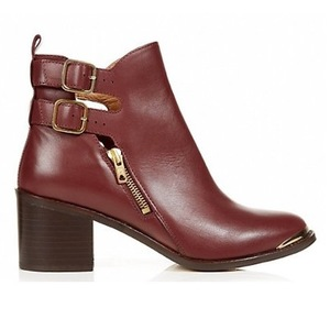 New Look Limited Burgundy Leather Cut-out Ankle Boots, £74.99