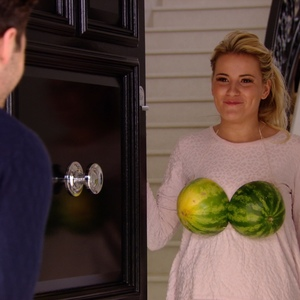 TOWIE: Georgia Kousoulou shows off her watermelon outfit for Arg's food party. Aired: 13 March 2014.