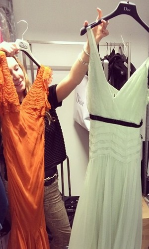 Millie Mackintosh tries on dresses