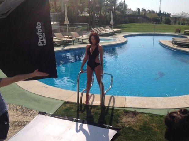 Amy Childs models her new swimwear collection in Spain - 13 March 2014