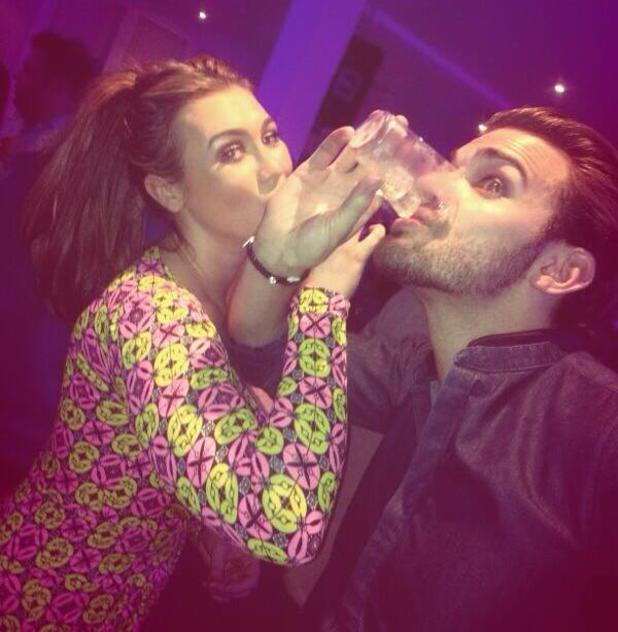 Lauren Goodger downing a shot at Dancing On Ice's wrap party (9 March 2014).