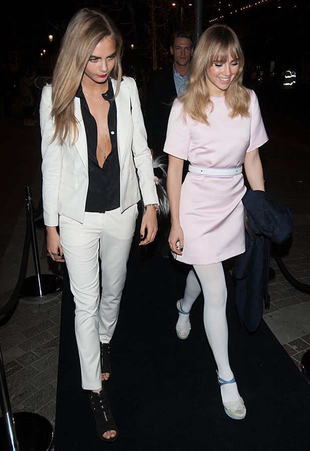 Cara Delevingne and Suki Waterhouse leave Harrods after the Karl Lagerfeld Parfums VIP dinner, London - 13 March 2014