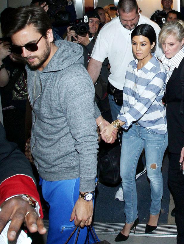 Scott Disick and Kourtney Kardashian at LAX airport, Los Angeles, America - 11 Mar 2014