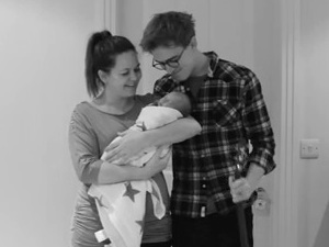 Tom Fletcher and Giovanna introduce baby Buzz in a YouTube video, 20 March 2014