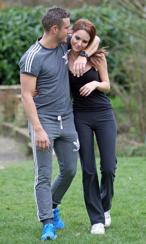 TOWIE star Elliott Wright working out with his rumoured new girlfriend Danielle Zarb-Cousin 03/21/2014 Essex, United Kingdom
