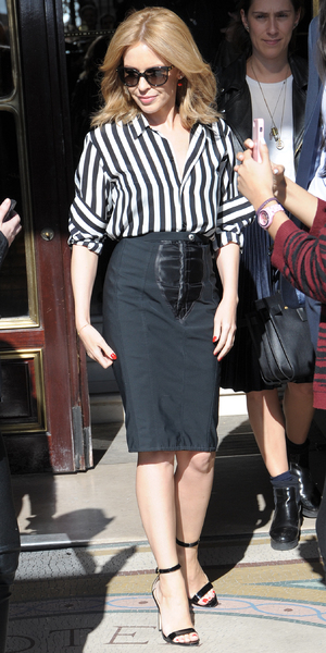 Kylie Minogue leaves Hotel Le Meurice in Paris, France - 20 March 2014