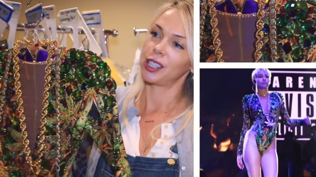 Miley Cyrus behind the scenes Bangerz tour - 18 March 2014 Costumes