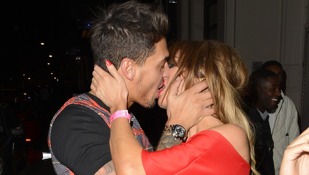 Mario Falcone and Chloe Sims kiss outside Funky Buddha in London - 18 March 2014