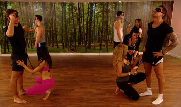 Mario Falcone and Charlie Sims at tantric sex yoga in TOWIE - 19 March 2014