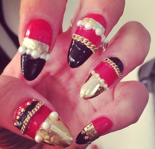 Lily Allen's black, red and gold 3D nail art, 18 March 2014