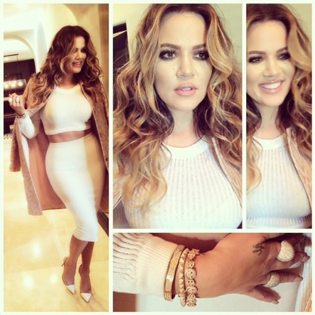 Khloe Kardashian poses in a white crop top and skirt - 18 January 2014