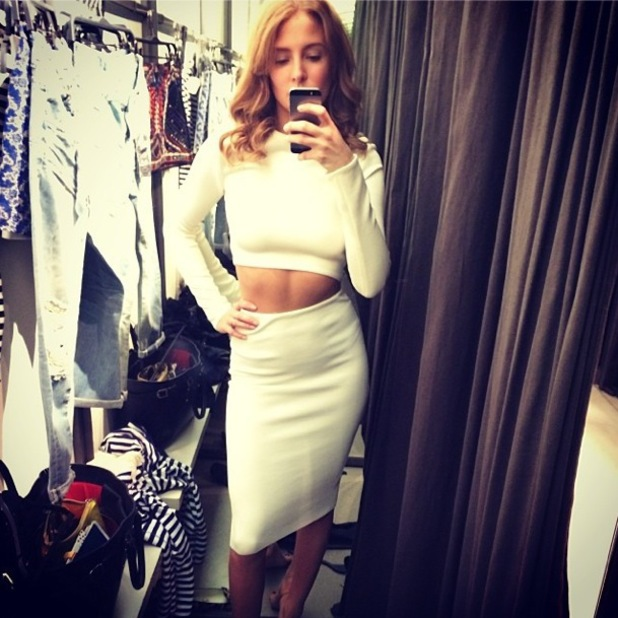 Millie Manderson (nee Mackintosh) poses in ZARA wearing a white crop top and skirt - 19 March 2014
