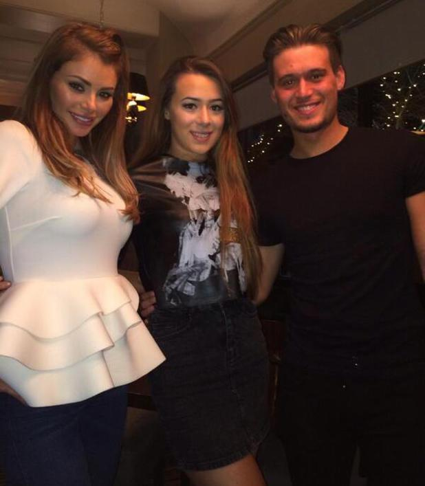 TOWIE's Charlie Sims celebrates birthday with sisters Chloe and Demi in Essex. (17 March).