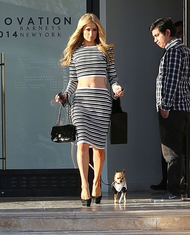 Paris Hilton and her pet dog Peter Pan visit Barneys of New York in Los Angeles - 17 March 2014