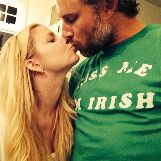 Jessica Simpson kisses fiance Eric Johnson on St. Patrick's Day, 17 March 2014