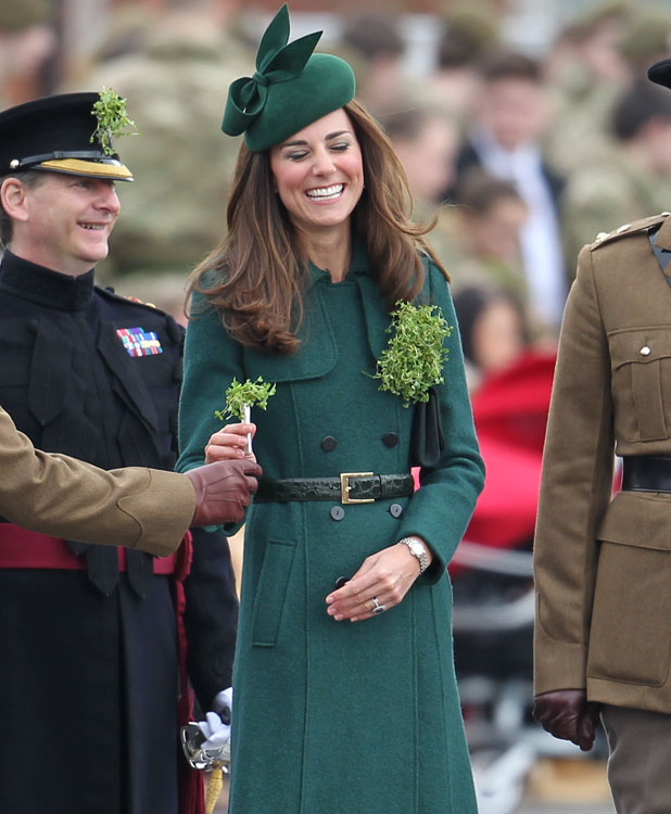 The Duchess of Cambridge and Prince William presents shamrocks to the Irish Guards' at St Patrick's Day Parade, 17 March 2014