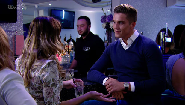 Sam Faiers is seen talking to Lewis Bloor about Grace Andrews on 'The Only Way Is Essex', shown on ITV2 HD, March 2014