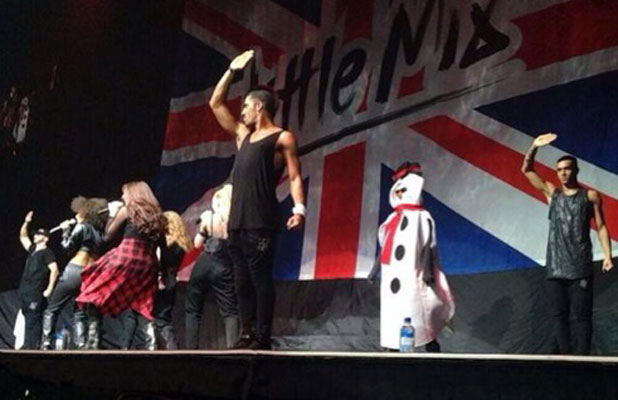 Demi Lovato pranks Little Mix with a snowman at their final US tour date, 18 March 2014