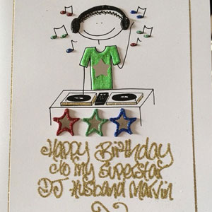 Rochelle Humes' birthday card for Marvin, 18 March 2014