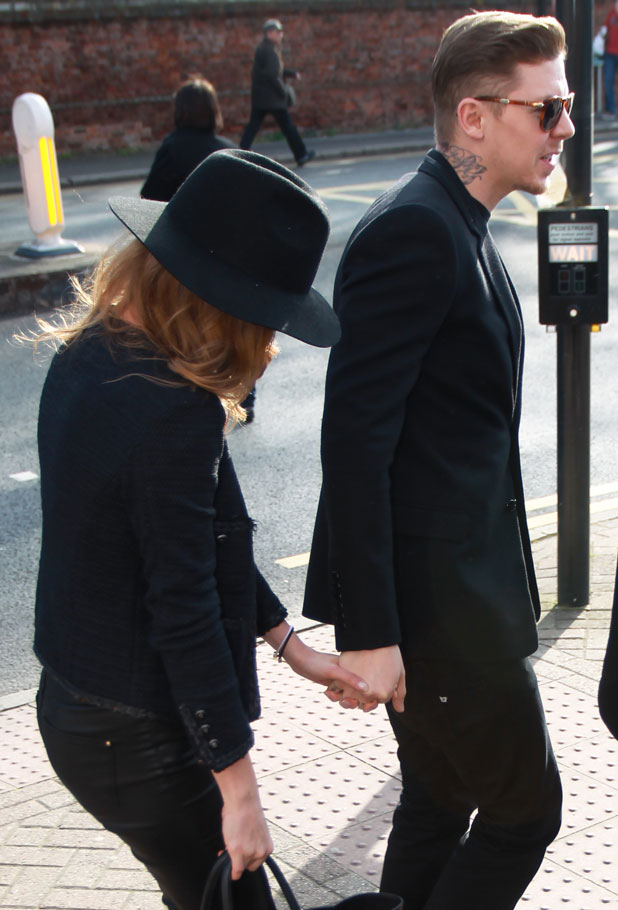 Professor Green supported by wife Millie Mackintosh at Bromley Magistrates Court charged with drink-driving, Kent, Britain - 20 Mar 2014
