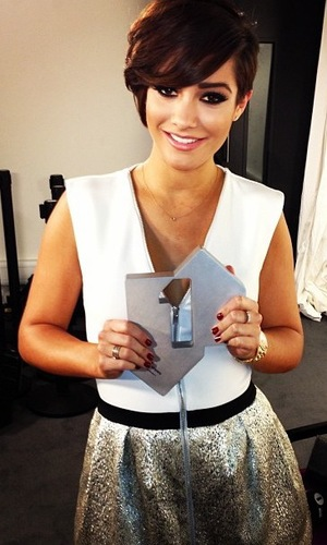 The Saturdays' Frankie Sandford poses for an Instagram picture after reaching number one in the singles chart - 25 March 2013