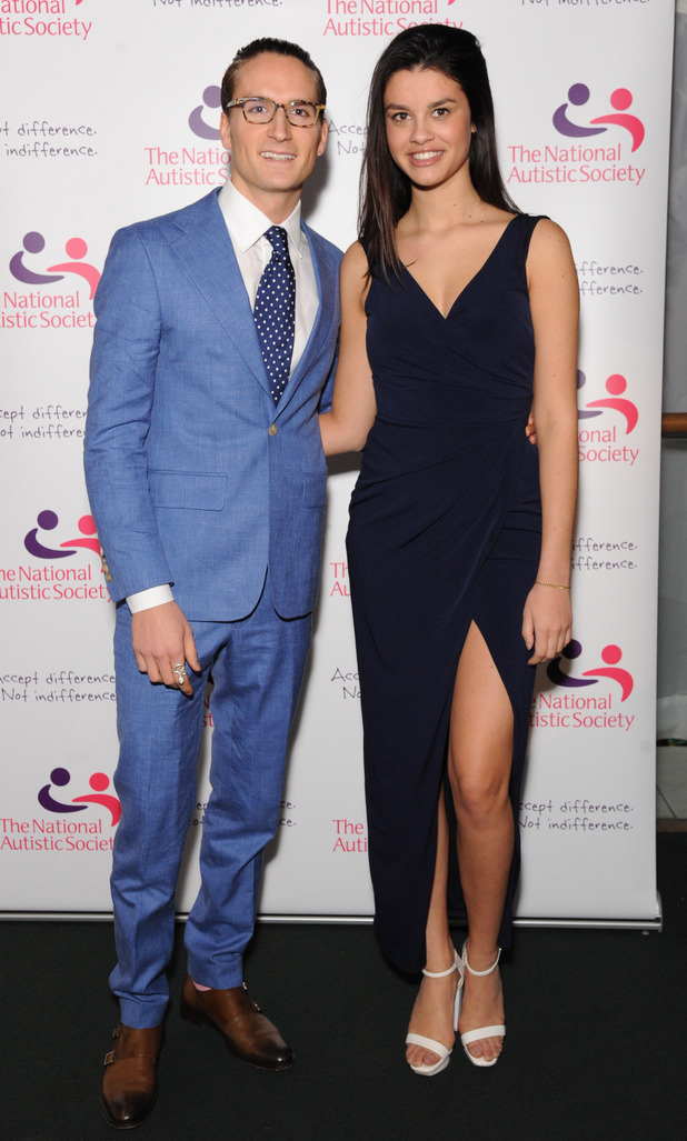 Made In Chelsea's Oliver Proudlock with girlfriend Grace McGovern at the National Autistic Society's Spectrum 2014 celebrity fundraising gala on Thursday night (27 March).