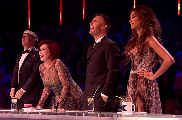 Louis Walsh, Sharon Osbourne, Gary Barlow, Nicole Scherzinger on The X Factor - Results, Shown on ITV1 HD 11/11/2013.