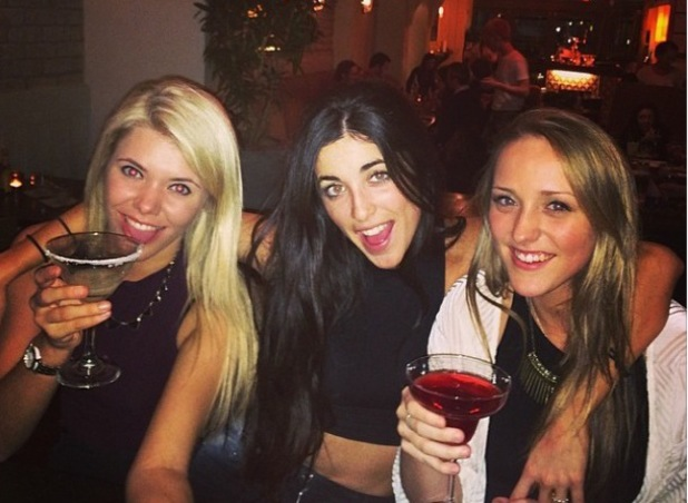 Made In Chelsea's Jamie Laing dines out with Tara Keeney and friends (21 March 2014).