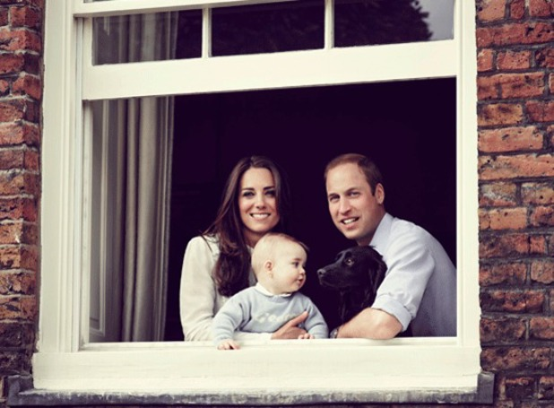 A portrait of the Duke and Duchess of Cambridge and Prince George released on Mother's Day 2014, 30 March 2014
