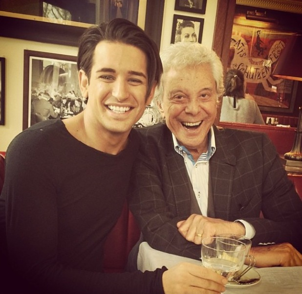Celebrity Big Brother's Ollie Locke and Lionel Blair meet up for dinner (27 March 2014).