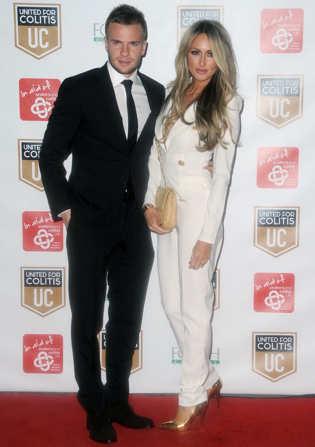 Tom Cleverley and Georgina Dorsett attend an exclusive night of fundraising for Crohn's and Colitis at Old Trafford - 28 March 2014