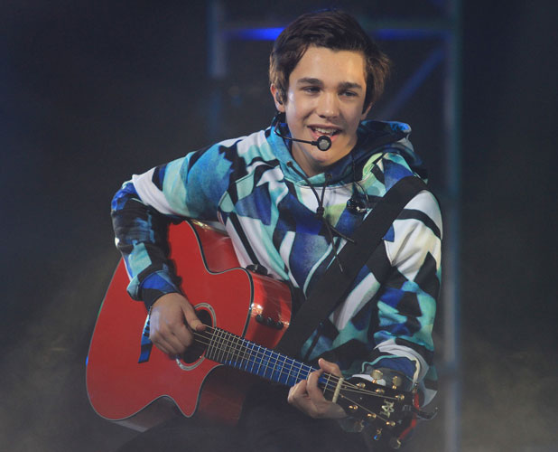 Austin Mahone celebrates Super Bowl XLVIII With A Concert at Bryant Park In NY, NY on 1/29/14