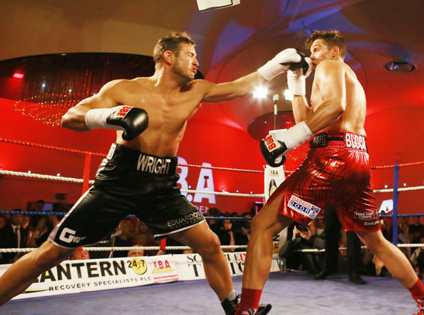 Elliott Wright (Black Trunks) vs Lewis Bloor, The Essex Boys Boxing match at the City Pavillion in Romford, Essex, Britain - 23 Mar 2014
