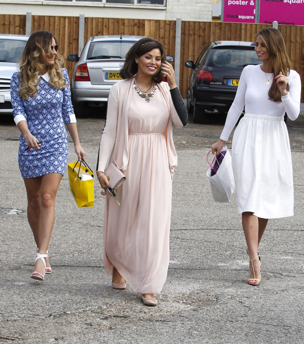 Jessica Wright, Sam Faiers and Ferne McCann filming TOWIE in Billericay, Essex, 25 March 2014
