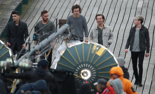One Direction (Niall Horan, Zayn Malik, Liam Payne, Harry Styles, Louis Tomlinson) film their new music video in Somerset, 24 March 2014