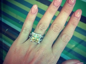 Lucy Mecklenburgh wears a diamond style ring on her engagement finger in Las Vegas - 31 March 2014