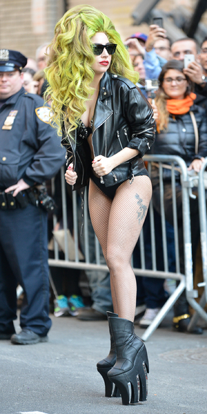 Lady Gaga arrives at the Ed Sullivan Theatre to appear on the Late Show With David Letterman in New York, America - 2 April 2014