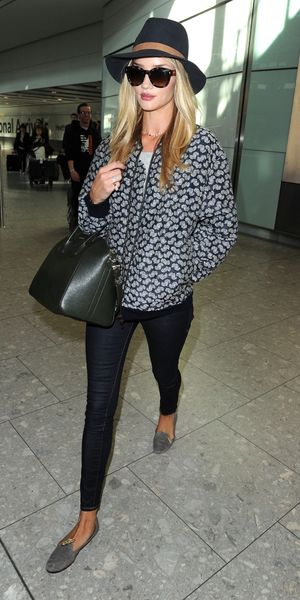 Rosie Huntington-Whiteley arrives at Heathrow airport - London, 29th March 2014